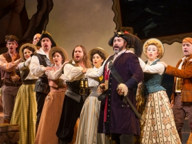 Andrew Varela (Pirate King), center, and Cast of Pirates of Penzance