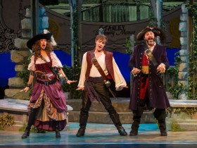 Diane Lane (Ruth), Benjamin Robinson (Frederic), and Andrew Varela (Pirate King) of Pirates of Penzance