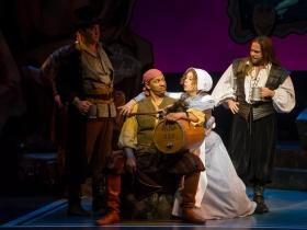 Nathan Wesselowski (Samuel), Sean Jackson (Ensemble), Diane Lane (Ruth), and Ryan Charles (Ensemble) of Pirates of Penzance