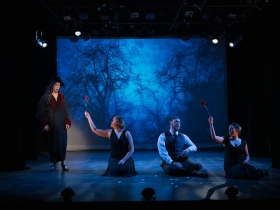 Diane Lane (Mad Margaret), Katie Gruell (Bridesmaid and Ghosts), Edward Lupella (Bridesmaid and Ghosts), and Megan McCarthy (Bridesmaid and Ghosts) in Ruddigore running January 3 – January 19, 2020.