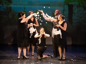 Susan Robinson (Rose Maybud, center) and the cast of Ruddigore running January 3 – January 19, 2020.