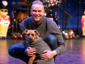 Ryan Cappleman and his dog Dolly in Skylight Sings: A Holiday Special available for streaming December 11, 2020 – January 10, 2021.