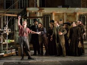Ryan Stajmiger (Tobias Ragg) and cast of Skylight Music Theatre's Sweeney Todd running May 19 – June 11.