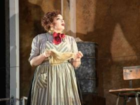 Christina Hall (Mrs. Lovett) in Skylight Music Theatre's Sweeney Todd running May 19 – June 11.