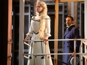 Kelly Britt (Johanna) and Randall Dodge (Judge Turpin) in Skylight Music Theatre's Sweeney Todd running May 19 – June 11.