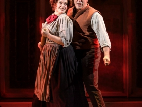 Christina Hall (Mrs. Lovett) and Andrew Varela (Sweeney Todd) in Skylight Music Theatre's Sweeney Todd running May 19 – June 11.