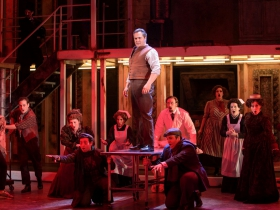 Andrew Varela (Sweeney Todd, Center, standing) surrounded by the cast of Skylight Music Theatre's Sweeney Todd. Sweeney Todd running May 19 – June 11