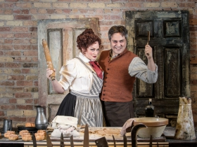 Christina Hall (Mrs. Lovett) and Andrew Varela (Sweeney Todd) in Skylight Music Theatre's Sweeney Todd running May 19 – June 11.