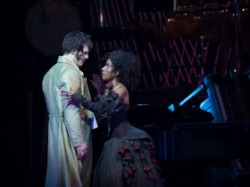 Ariana Douglas (Giulietta) and John Kaneklides (Hoffmann) in rehearsal for Skylight Music Theatre's production of The Tales of Hoffmann in association with Milwaukee Opera Theatre, March 16-29 on the Cabot Theatre stage.