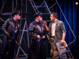 Tim Rebers (Officer Barrel), Rick Pendzich (Officer Lockstock) and Lucas Pastrana (Bobby Strong) in rehearsal for Skylight Music Theatre's production of Urinetown, The Musical May 18 – June 10 on the Cabot Theatre stage.