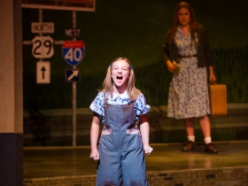 Kylee Hennes (Young Violet), Allie Babich (Violet) in Skylight Music Theatre's Violet