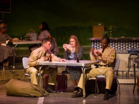 Foreground: Alex Mace (Monty), Allie Babich (Violet), Lamar Jefferson (Flick). Background: Cynthia Cobb (bus passenger), Raven Dockery (bus passenger) in Skylight Music Theatre's Violet