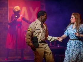 Cynthia Cobb (Music Hall Singer), Lamar Jefferson (Flick) and Allie Babich (Violet) in Skylight Music Theatre's Violet