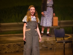 Ella Rose Kleefisch (young Violet) and Allie Babich (Violet) in Skylight Music Theatre's Violet