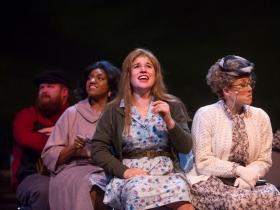 Robby McGhee (bus passenger), Raven Dockery (Bus Passenger), Allie Babich (Violet), Samantha Sostarich (Old Lady), in Skylight Music Theatre's Violet