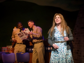 Lamar Jefferson (Flick), Alex Mace (Monty), and Allie Babich (Violet) in Skylight Music Theatre's Violet