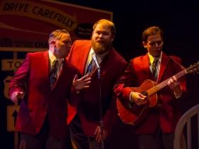 Rick Pendzich (Radio Singer), Robby McGhee (Radio Soloist) and Ryan Stajmiger (Radio Singer) in Skylight Music Theatre's Violet