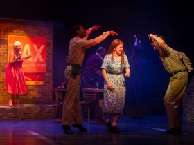 Cynthia Cobb (Music Hall Singer), Lamar Jefferson (Flick), Allie Babich (Violet) and Alex Mace (Monty) in Skylight Music Theatre's Violet