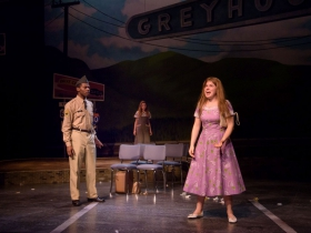 Lamar Jefferson (Flick), Ella Rose Kleefisch (young Violet) and Allie Babich (Violet) in Skylight Music Theatre's Violet