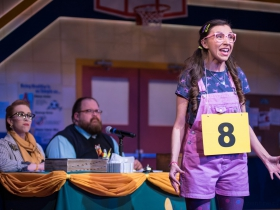 (l. to r.) Samantha Sostarich (Rona Lisa Peretti), Robby McGhee (Douglas Panch) and Amanda Rodriguez (Olive Ostrovsky) in Skylight Music Theatre's production of The 25th Annual Putnam County Spelling Bee running February 7 – February 23, 2020.