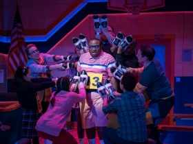 James Carrington (William Barfèe, center) and cast members of Skylight Music Theatre's production of The 25th Annual Putnam County Spelling Bee running February 7 – February 23, 2020.
