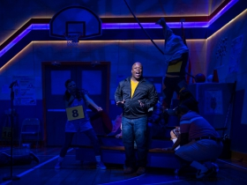 Shawn Holmes (Mitch Mahoney, center) and cast members of Skylight Music Theatre's production of The 25th Annual Putnam County Spelling Bee running February 7 – February 23, 2020.