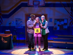 (l. to r.) Shawn Holmes (Mitch Mahoney), Amanda Rodriguez (Olive Ostrovsky) and Samantha Sostarich (Rona Lisa Peretti) in Skylight Music Theatre's production of The 25th Annual Putnam County Spelling Bee running February 7 – February 23, 2020.