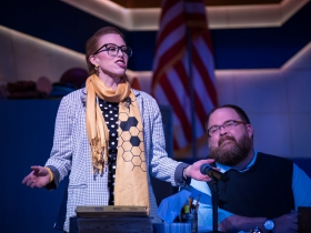 (l. to r.) Samantha Sostarich (Rona Lisa Peretti) and Robby McGhee (Douglas Panch) in Skylight Music Theatre's production of The 25th Annual Putnam County Spelling Bee running February 7 – February 23, 2020.