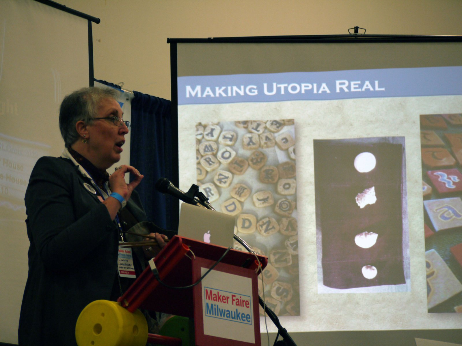 "One of the many speakers, ""Everyday Utopia,"" all about creating new worlds"