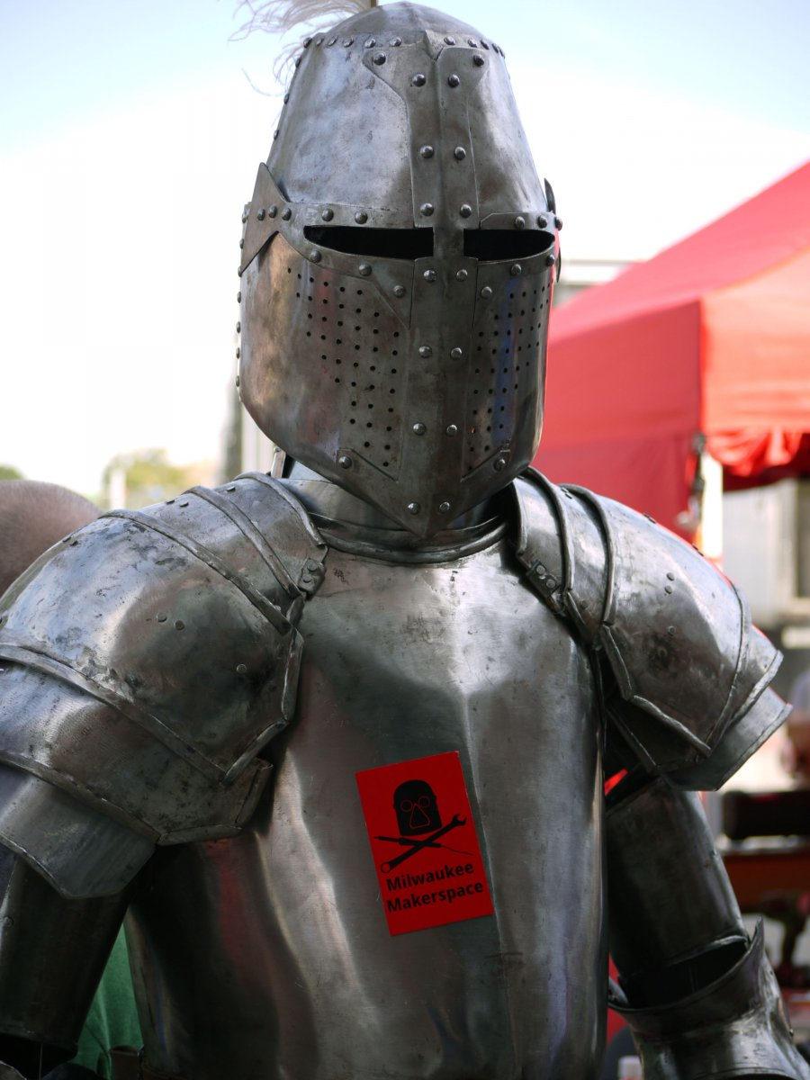 Functional suit of medieval armor made by blacksmiths from the Milwaukee Makerspace
