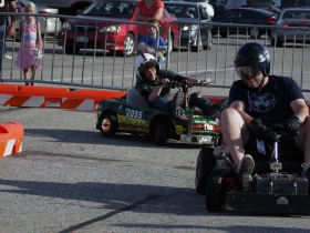 Audrey Horst from the Milwaukee Makerspace in pursuit with the Power Racing Series