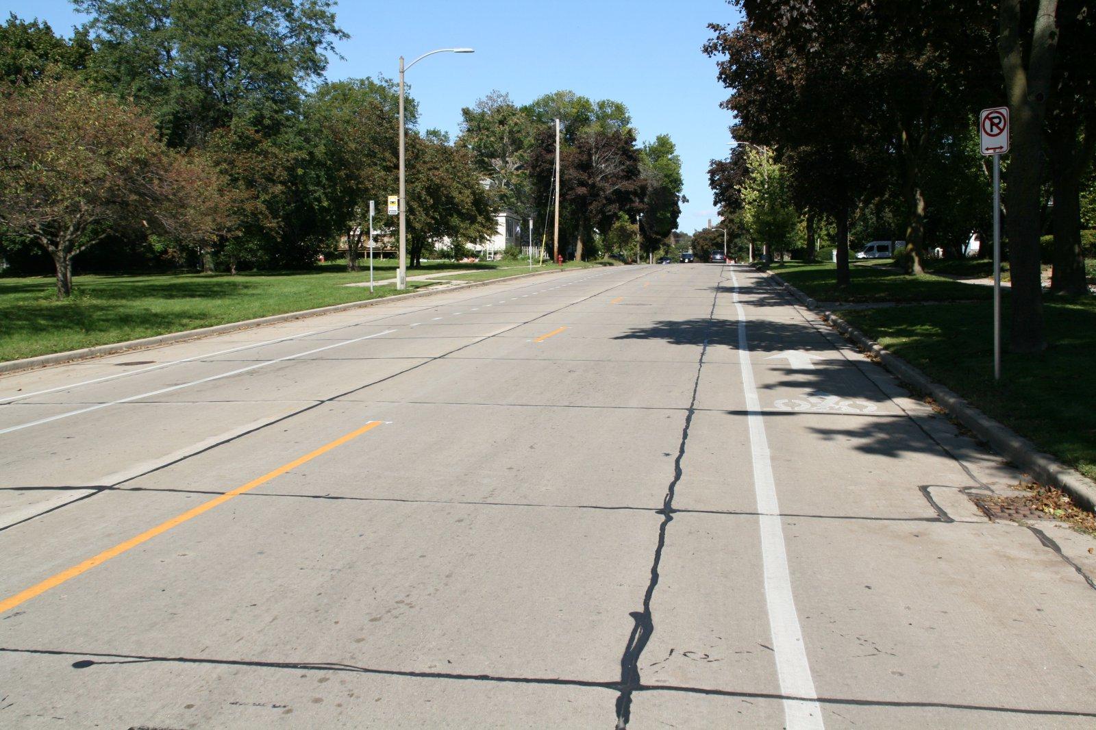 Curb Bike Lane on N. Hawley Rd.