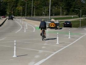 Cyclist on N. Hawley Rd.
