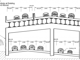All Up Design - Build New Freeway Entirely at Existing Ground Level and Above.
