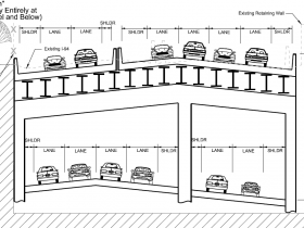 All Down - Build New Freeway Entirely at Existing Ground Level and Below.