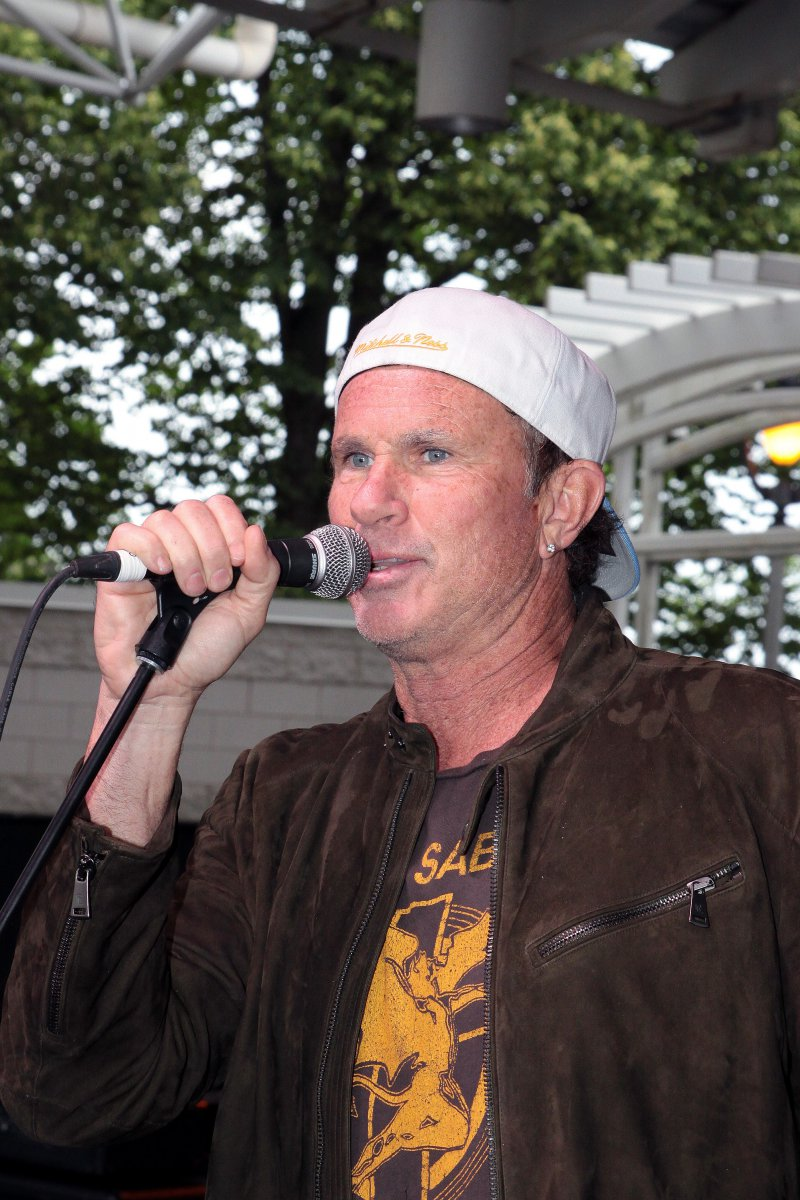 Chad Smith drummer from the Red Hot Chili Peppers introduces the band Denim Matriarch at the Johnson Controls World Stage