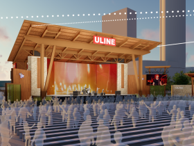 Uline Warehouse Stage Rendering. Rendering by Eppstein Uhen Architects.