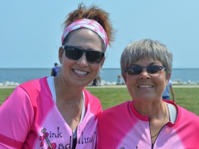 Pink Paddling Power President Jill Hartnell and Captain J. J. Austin