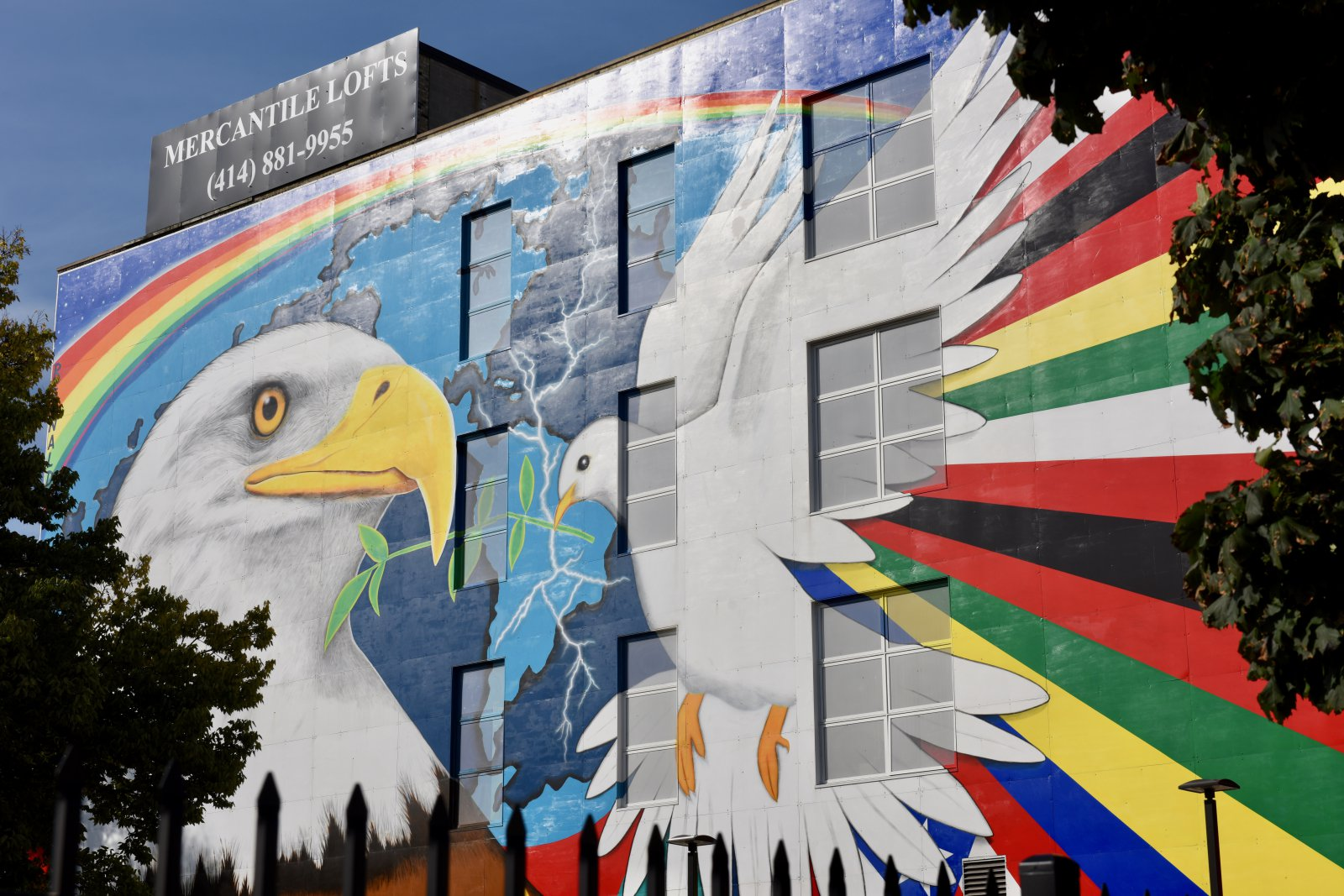 The iconic \'Mural of Peace\' by Reynaldo Hernandez, which can be seen from I-42, is located on South 6th Street