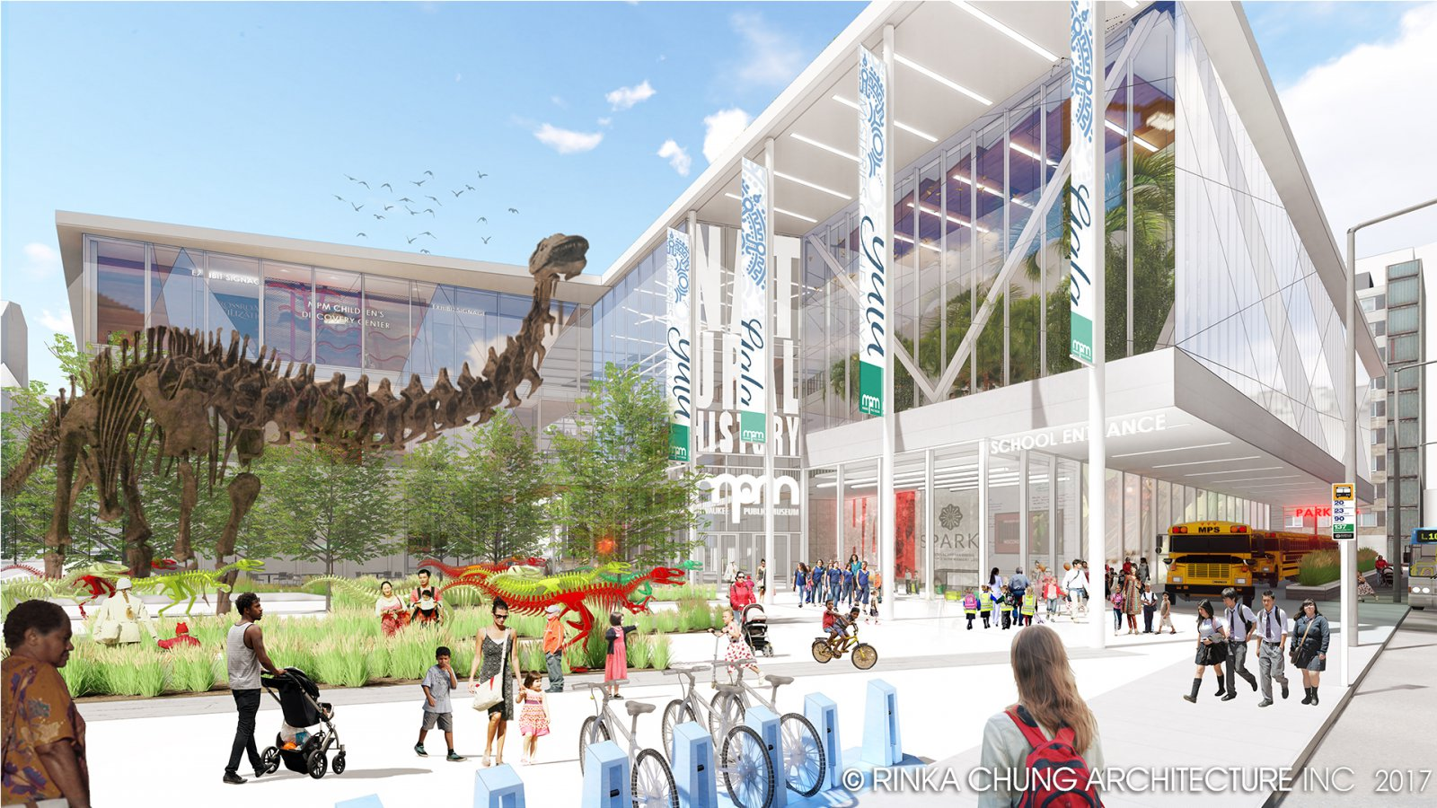 Conceptual design for the Milwaukee Public Museum back plaza
