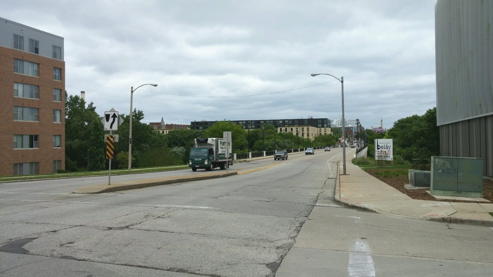 Looking east from E. North Ave. and N. Commerce St.