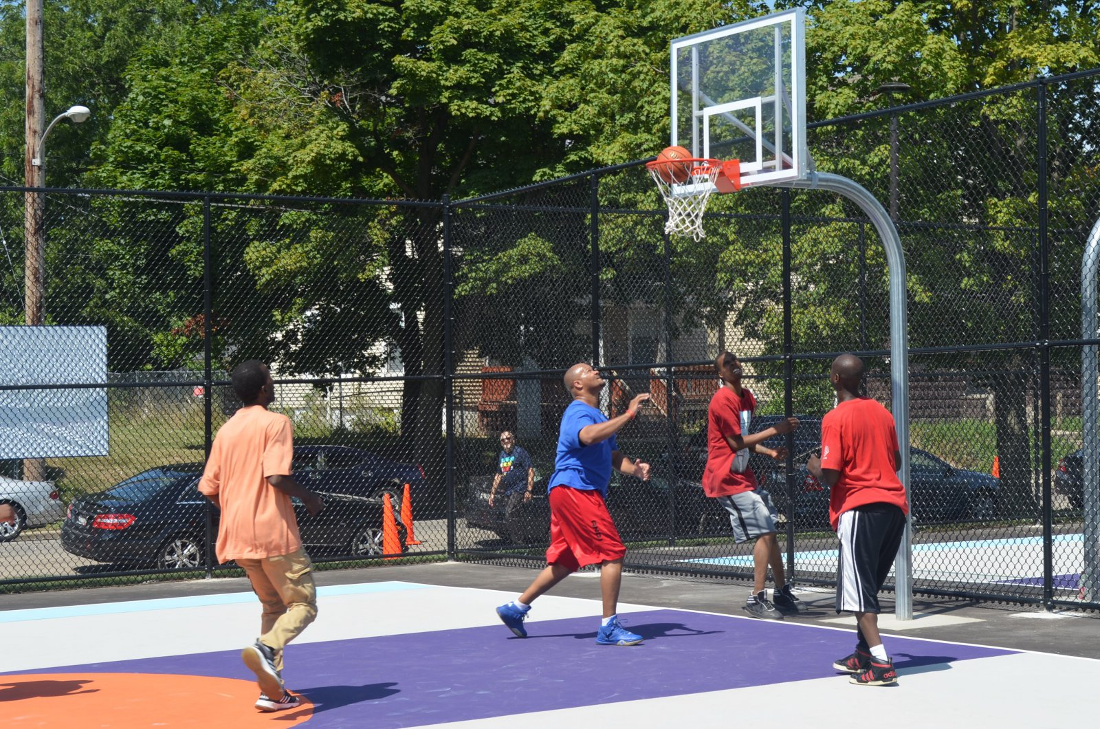 Basketball at Columbia Playfield on the day of its reopening