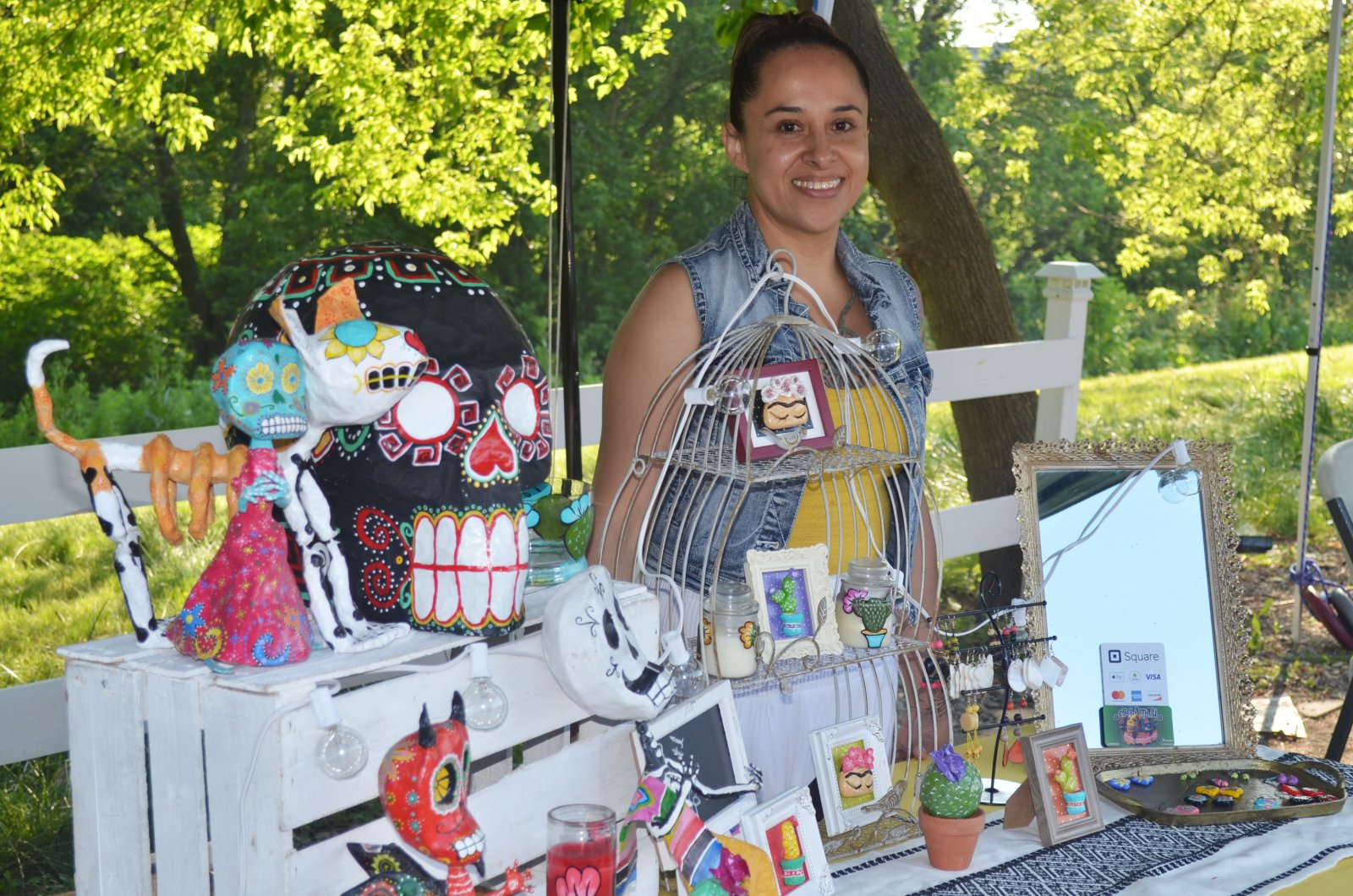 Cecite Jede at her booth at Frida Fest