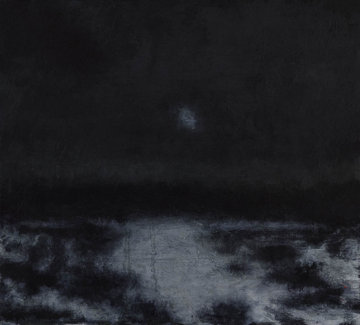 David Niec: 50% Winter Moon Rising Through Clouds, 2017