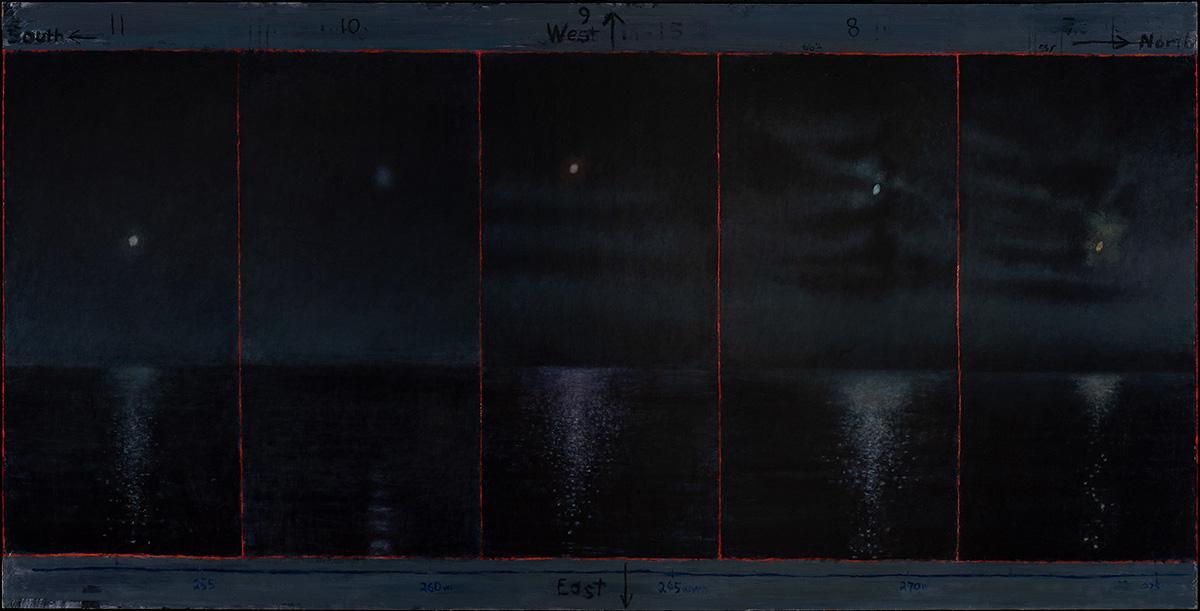 David Niec: Panel 2: June Moon Cycle Over Lake Michigan, The Waxing Moons, 2018