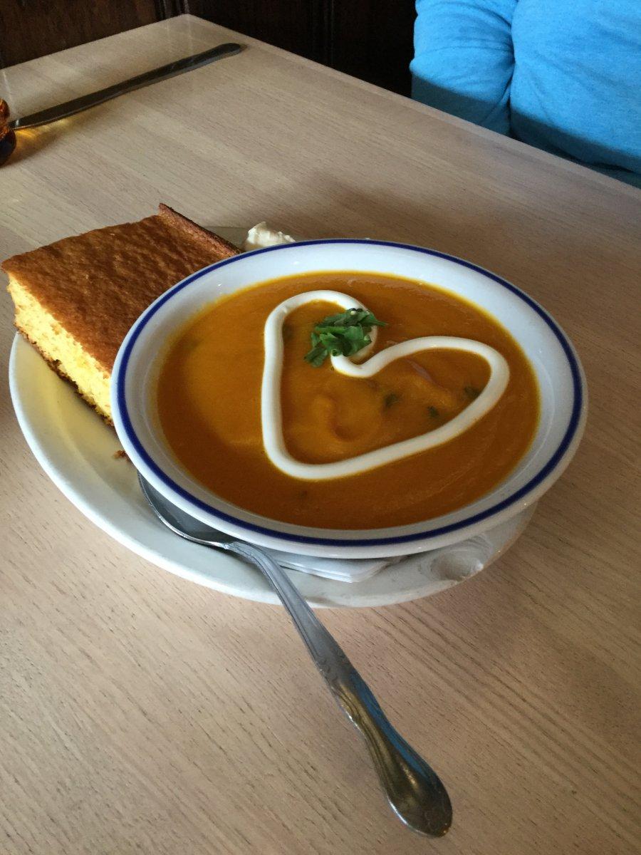 Carrot cilantro soup and cornbread