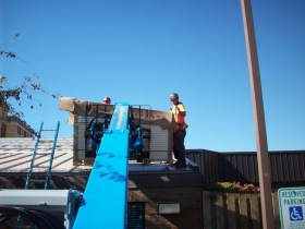 Oct. 16 saw the installation of the first panels on the south and east roof of Sacred Heart.