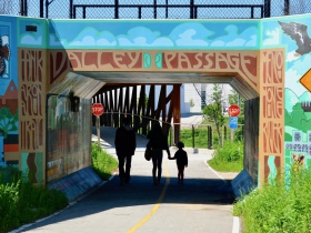 The 'Valley Passage Mural' connects Pierce Street to the Menomonee Valley.