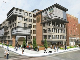 Rendering of a six-floor building on northeast corner of 27th and Wisconsin