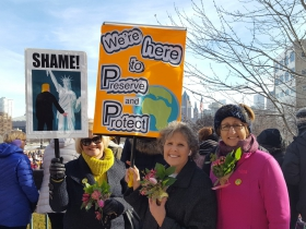 Deborah Hufford, Dianna Dentino, and Elizabeth Lentini at the Women's March